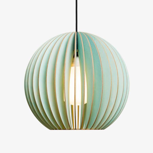 Holz Lampe AION blau Textilkabel schwarz