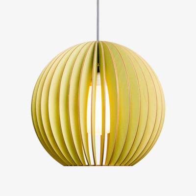 Holz Lampe AION grün Textilkabel grau