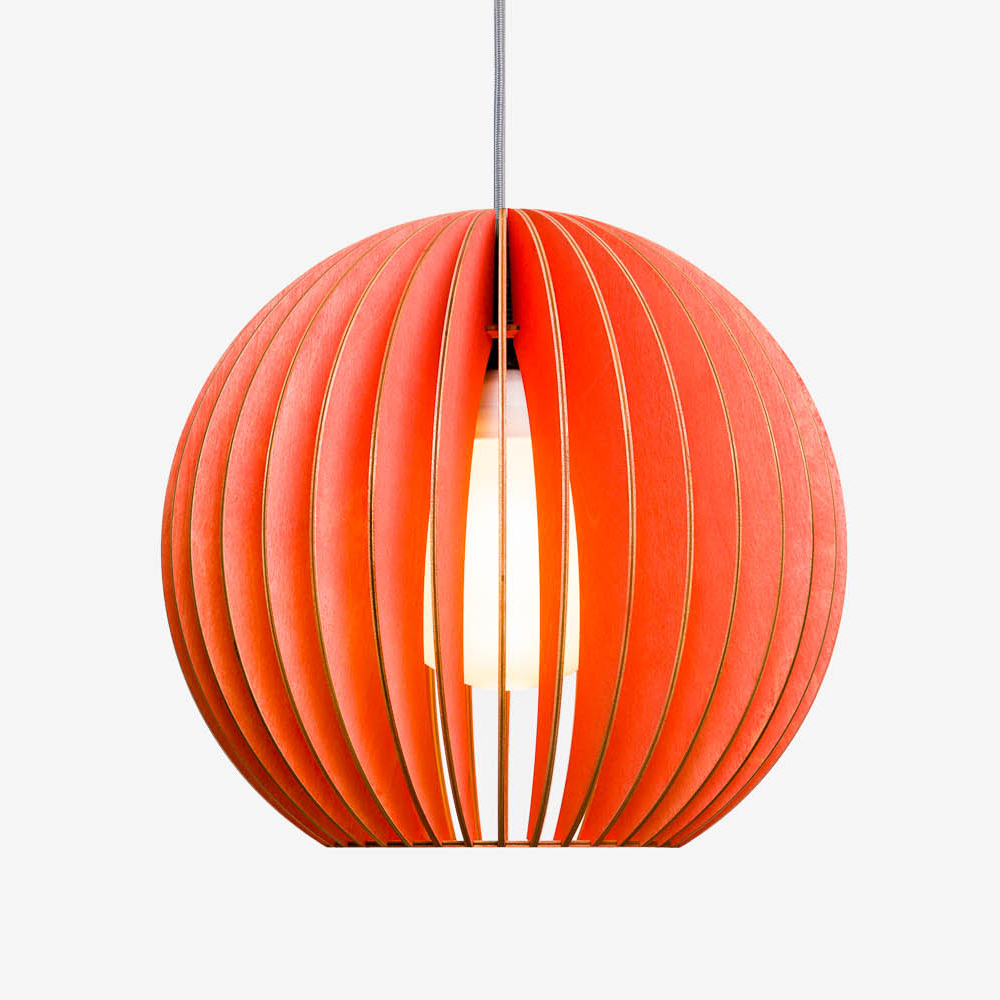 Holz Lampe AION rot Textilkabel grau