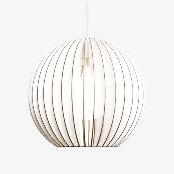 Holz Lampe AION weiss Textilkabel weiss