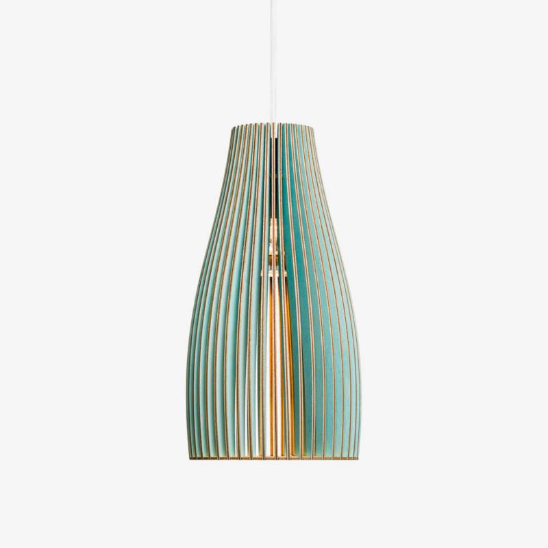 Holz Lampe ENA, blau Textilkabel weiss