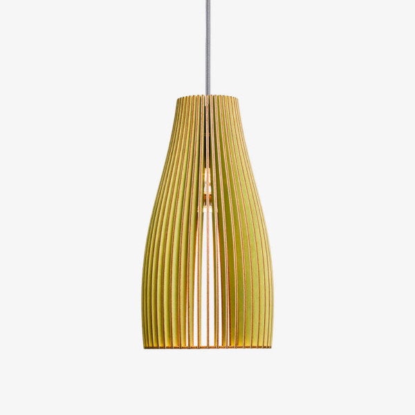 Holz Lampe ENA, grün Textilkabel grau