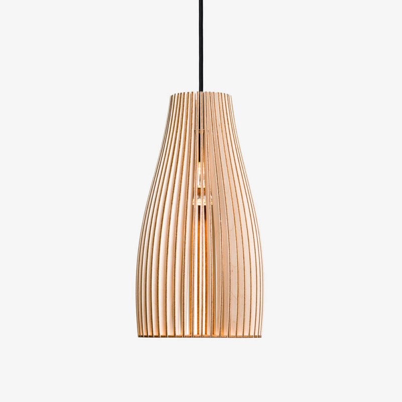 Pendelleuchte Holz, modern, Textilkabel schwarz