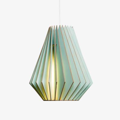 Holz Lampe HEKTOR blau Textilkabel weiss
