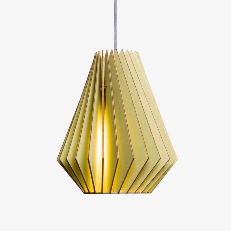 Holz Lampe HEKTOR grün Textilkabel grau