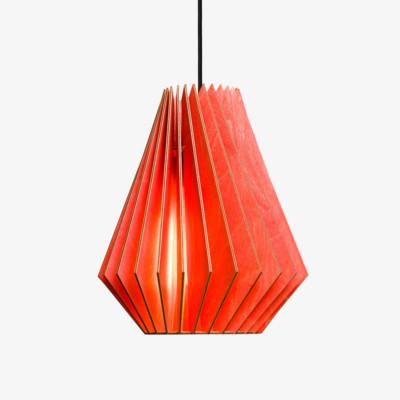 Holz Lampe HEKTOR rot Textilkabel schwarz