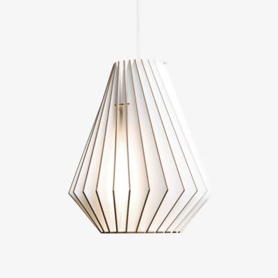 Holz Lampe HEKTOR weiss Textilkabel weiss