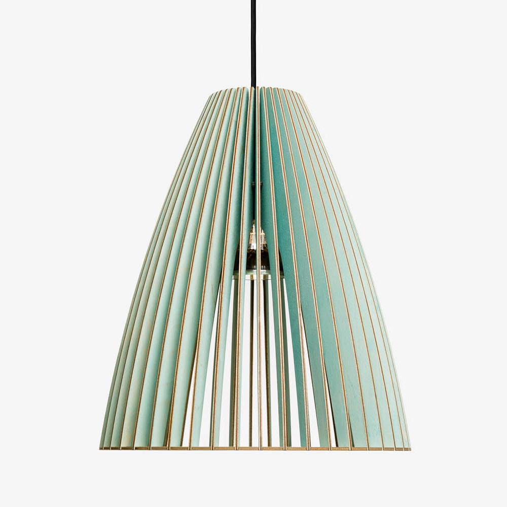 Holz Lampe TEIA blau Textilkabel schwarz
