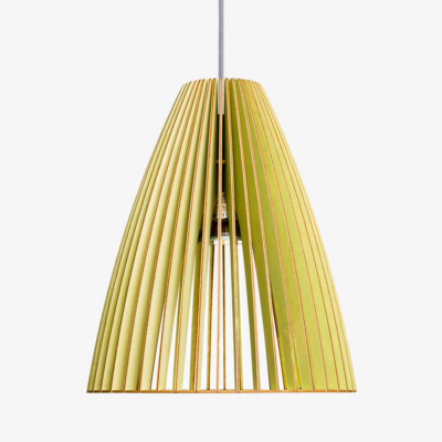 Holz Lampe TEIA grün Textilkabel grau