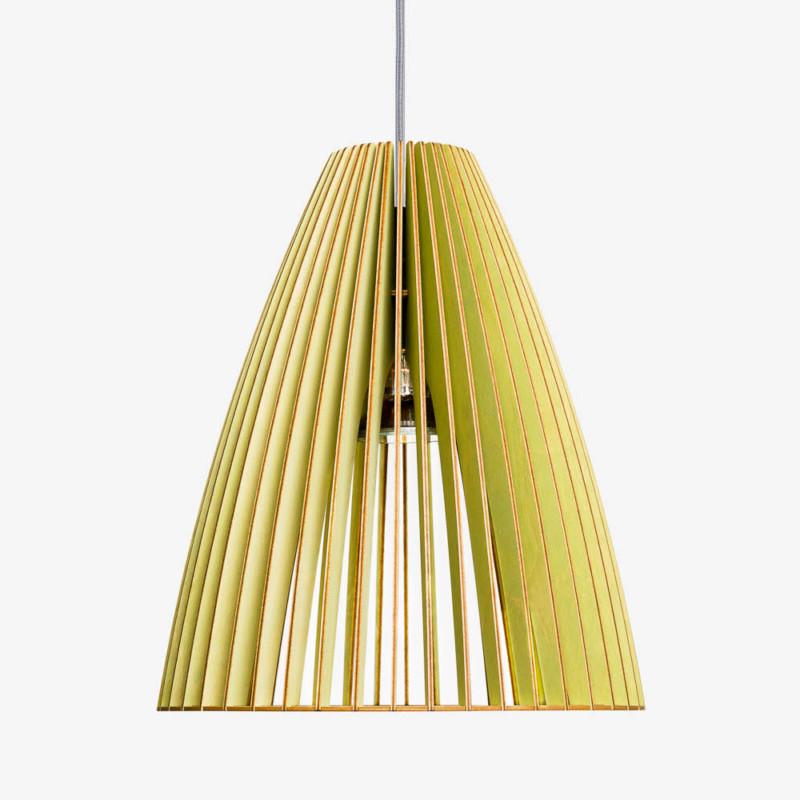 Holzleuchte-TEIA-grün Textilkabel grau