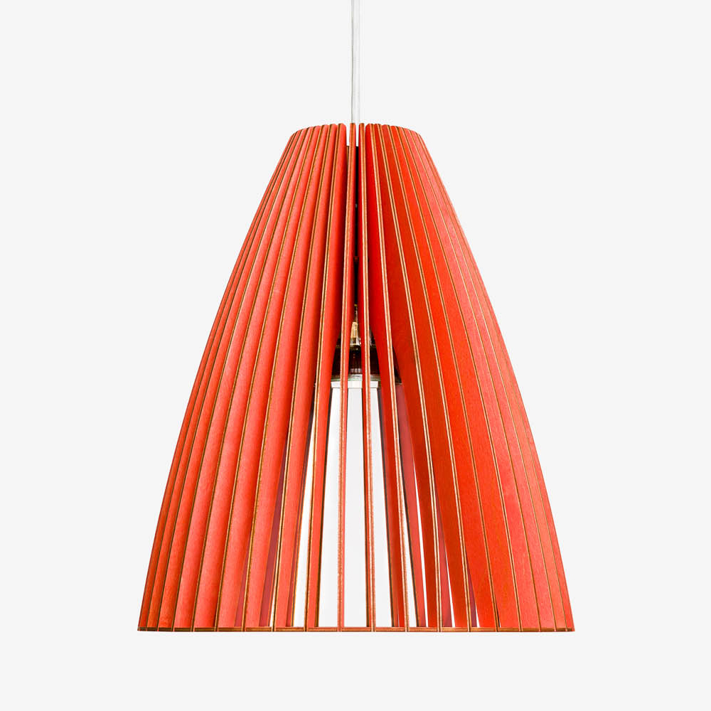 Holz Lampe TEIA rot Textilkabel weiss