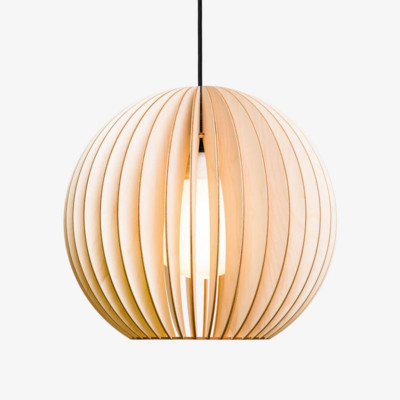 Pendant light made of birch wood