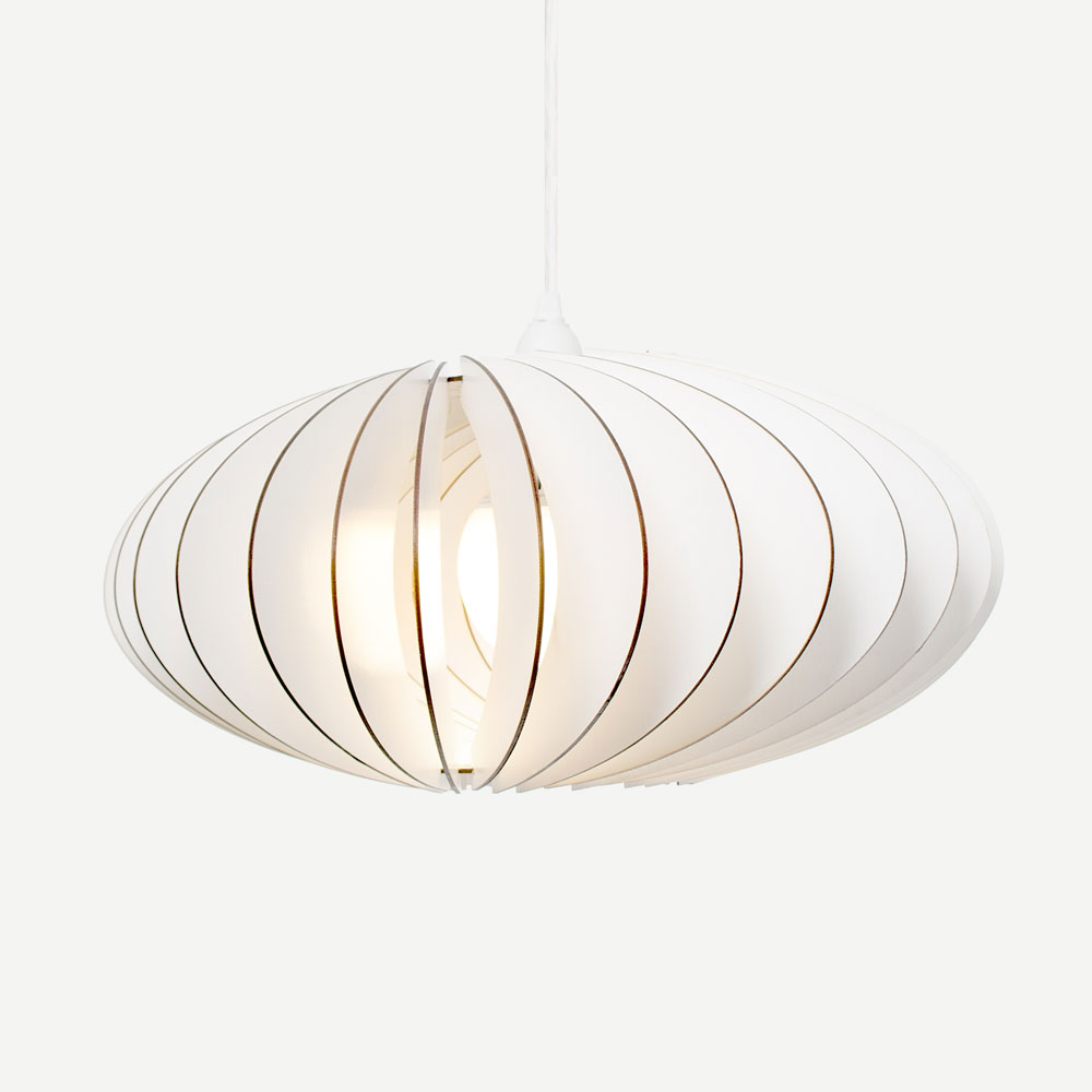 wooden pendant light NEFI white IUMI DESIGN