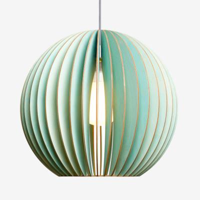 Holz Lampen aus Berlin AION L blau Textilkabel grau