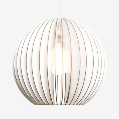 Holz Lampen aus Berlin AION L weiss Textilkabel weiss