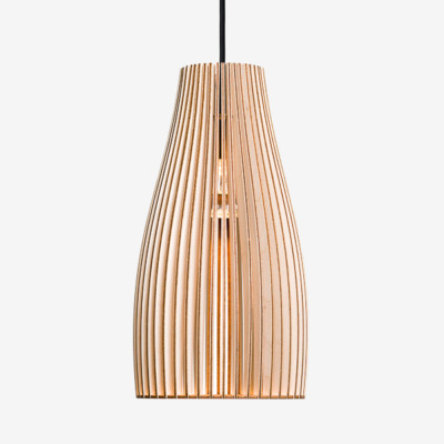 wooden hanging light ENA L birch, black cord