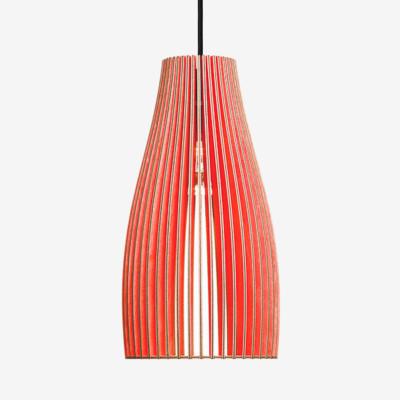 Haengelampen aus Holz ENA L rot+ Textilkabel schwarz