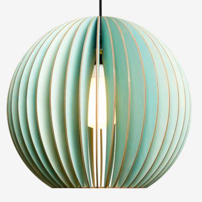 Holz Lampen aus Berlin AION XL blau Textilkabel schwarz