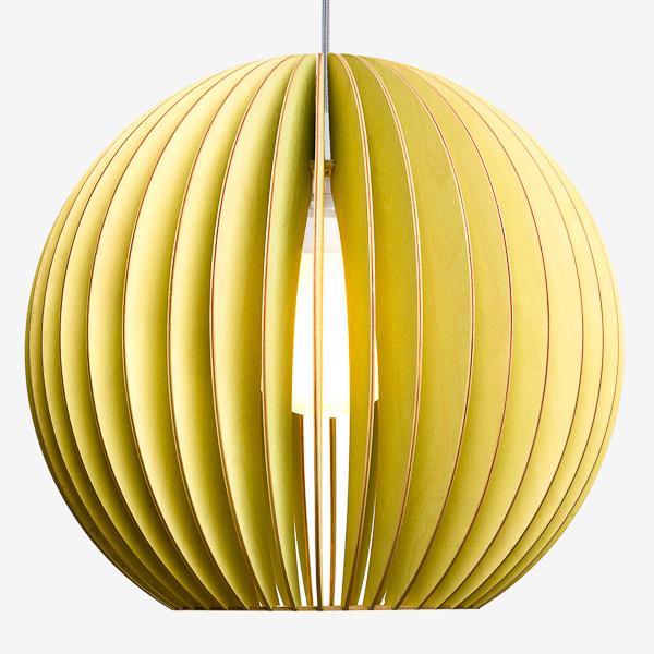 Holz Lampen aus Berlin AION XL grün Textilkabel grau
