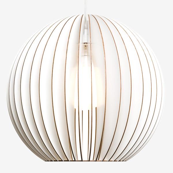 Holz Lampen aus Berlin AION XL weiss Textilkabel weiss