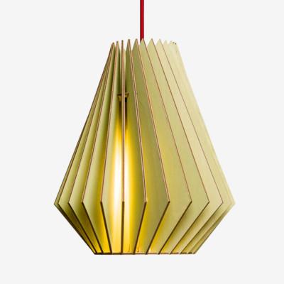 Holz Lampen aus Berlin HEKTOR L grün Textilkabel rot
