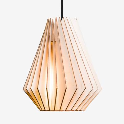 Holz Lampen aus Berlin HEKTOR L natur Textilkabel schwarz