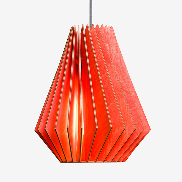 Holz Lampen aus Berlin HEKTOR L rot Textilkabel grau
