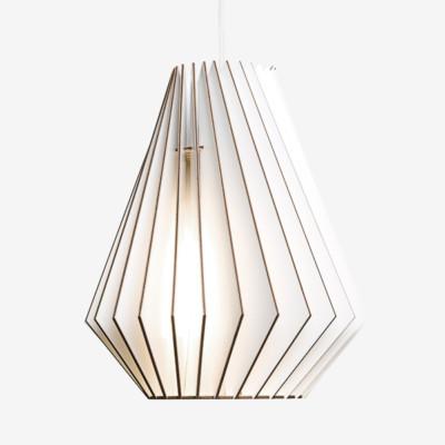 Holz Lampen aus Berlin HEKTOR L weiß Textilkabel weiss