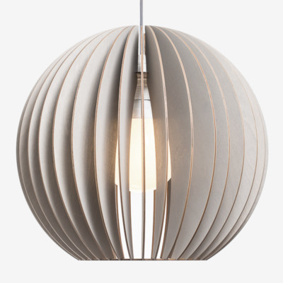 Holz Lampen aus Berlin AION XL grau Textilkabel grau