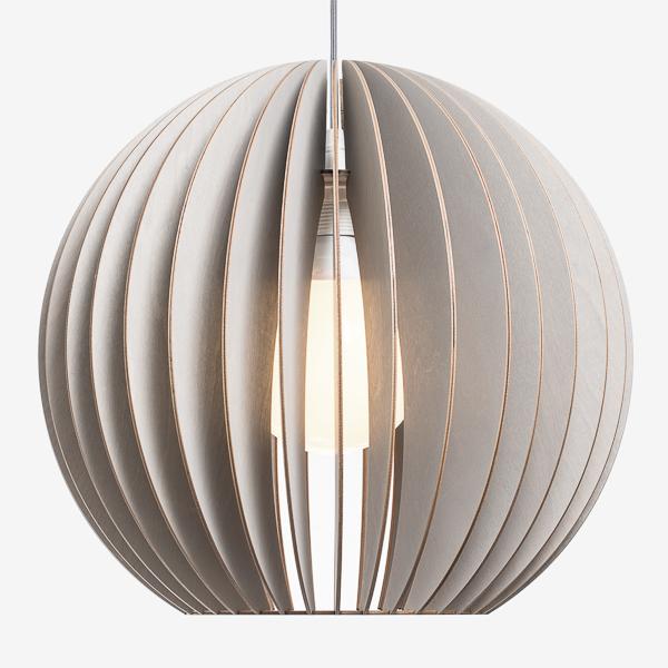 Holzlampe AION XL grau mit Textilkabel in grau