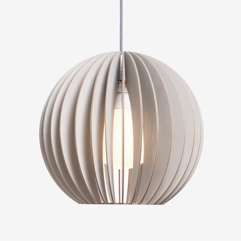 Holz Lampe AION grau Textilkabel grau