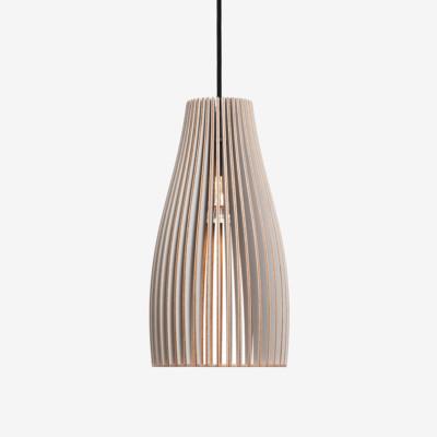 Holz Lampe ENA, grau Textilkabel schwarz