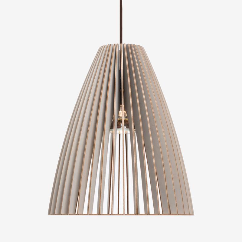 Holz Lampe TEIA grau Textilkabel braun