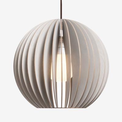 Holz Lampen aus Berlin AION L grau Textilkabel braun