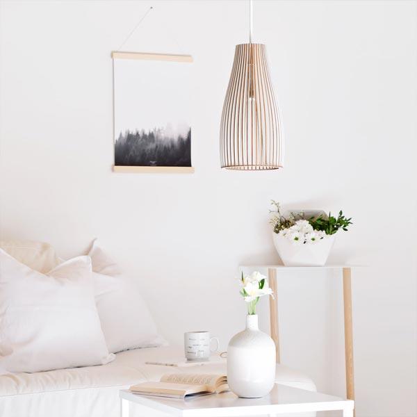 Lampe aus Birkenholz Sofatisch ENA weiß by IUMI DESIGN